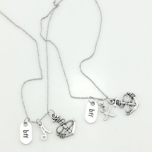 BFF Necklace – Anchor Charm With Italic Lettering